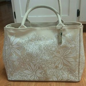 Oscar de la Renta Cream Canvas Floral Tote Bag